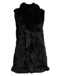 Love Token Genuine Rabbit Fur Vest With Genuine Fox