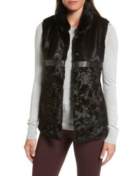Via Spiga Reversible Faux Fur Faux Leather Vest