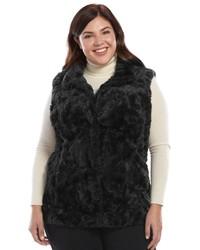 Weathercast Plus Size Weathercast Faux Fur Vest