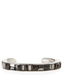 Oscar de la Renta Geometric Crystal Cuff Bracelet Black