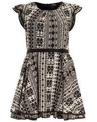 Rubys closet black white aztec dress medium 53254