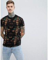 ASOS DESIGN T Shirt With All Over Aztec Print And Grandad Neck