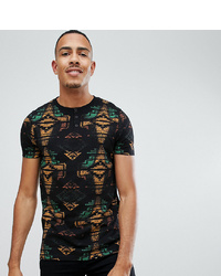 ASOS DESIGN Tall T Shirt With All Over Aztec Print And Grandad Neck