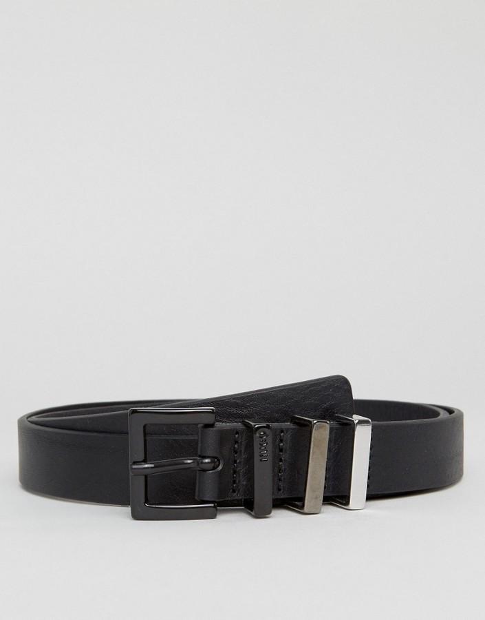 Hugo Boss Hugo By Leather Geo Belt In Black