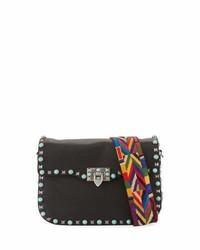 Valentino Garavani Rockstud Rolling Shoulder Bag With Woven Strap