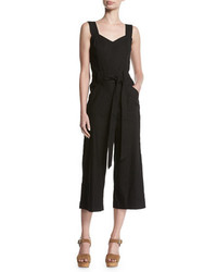 7 For All Mankind Culotte Sleeveless Belted Linen Playsuit