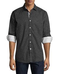English Laundry Geometric Print Sport Shirt Black