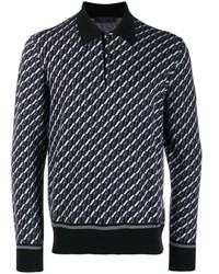 Prada Long Sleeve Intarsia Polo Shirt