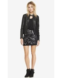 Express High Waist Mixed Sequin Mini Skirt