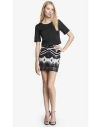 Express High Waist Sequined Mini Skirt