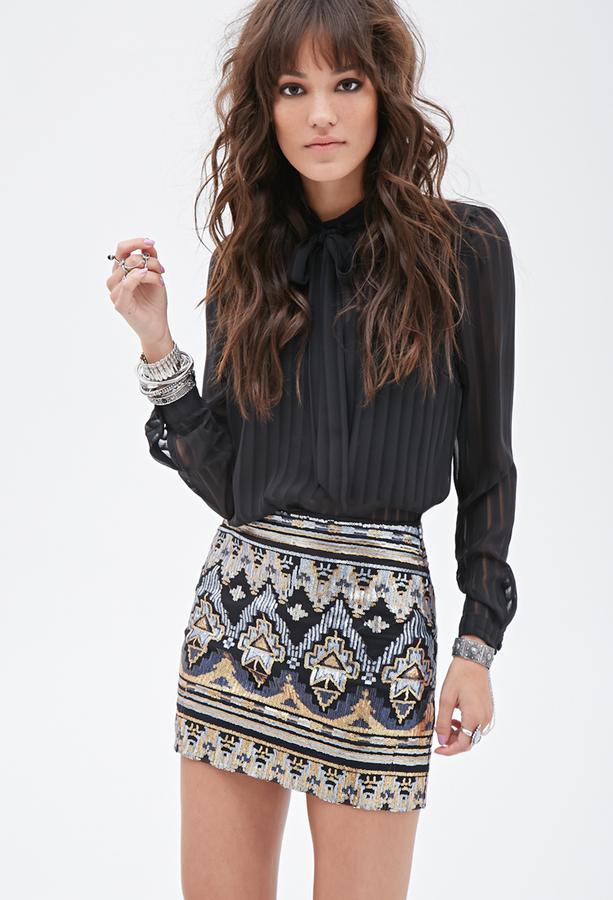 Mini Skirts Forever 21 Tribal Inspired Sequin Skirt