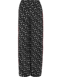 Marni Gothica Printed Silk De Chine Wide Leg Pants