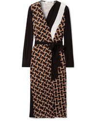 Diane von Furstenberg Maureen Printed Silk Jersey And Silk De Chine Wrap Dress