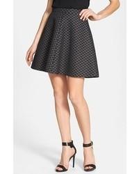 Black Geometric Skater Skirt