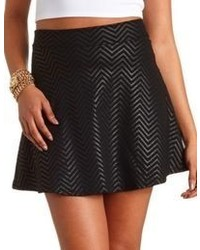 Charlotte russe chevron coated skater skirt medium 57225