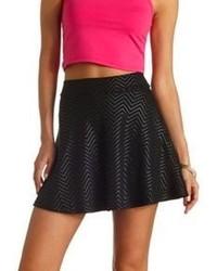 Charlotte Russe Textured Chevron Skater Skirt
