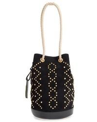 Saint Laurent Seau Suede Bucket Bag Black