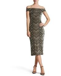 Dress the Population Eden Geo Print Velvet Off The Shoulder Dress
