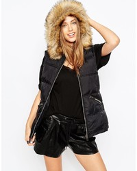 Asos Collection Padded Vest With Hood