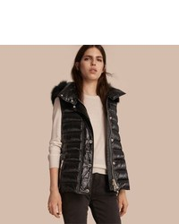 Burberry Down Filled Gilet With Detachable Fur Trimmed Hood