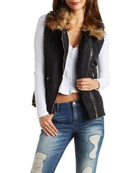 Faux Fur Leather Trim Moto Puffer Vest