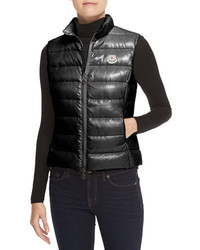 Moncler Fitted Zip Puffer Vest Black