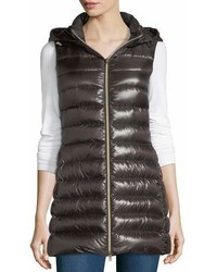 Herno Long Ribbed Fitted Zip Front Vest W Removable Hood