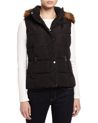 Marc Ny Performance Puffer Vest Wremovable Faux Fur Trim Hood Black