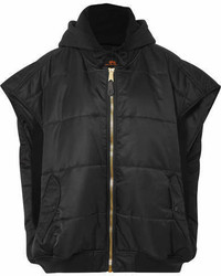 Oversized hooded quilted shell and jersey gilet black medium 6987617