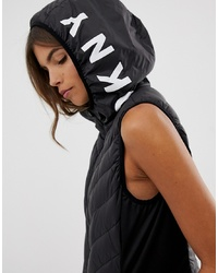 DKNY Padded Vest With Logo Hood Detail