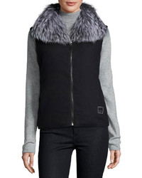 Fleurette Reversible Down Vest Wfox Fur Collar
