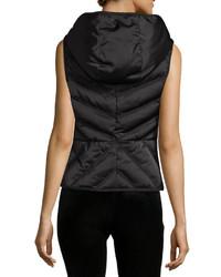 Blanc Noir Satin Mesh Inset Puffer Vest Black