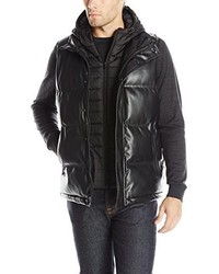 Sean John Faux Leather Puffer Vest With Hooded Bib