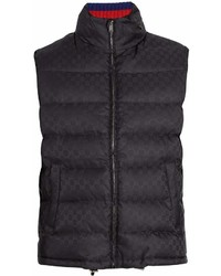 Gucci Self Stowing Hood Quilted Logo Jacquard Gilet