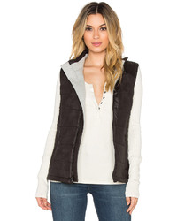 Monrow Soft Leather Puffer Vest