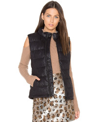 Monrow Vegan Leather Puffer Down Vest In Black