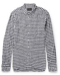 Beams Plus Button Down Collar Gingham Linen Shirt