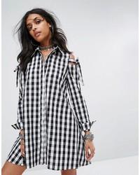 Glamorous Cold Shoulder Shirt Dress In Gingham