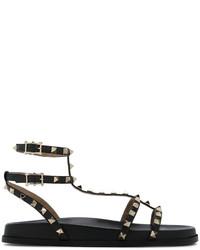 Valentino Garavani Black Rockstud 20 Gladiator Sandals