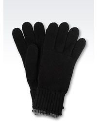 Armani Collezioni Gloves In Melange Wool With Leather Logo