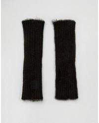 Asos Fingerless Gloves In Black Fluffy Yarn