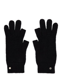 Rick Owens Black Mohair Touchscreen Gloves
