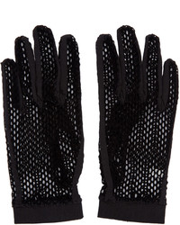 MM6 MAISON MARGIELA Black Velvet Mesh Gloves