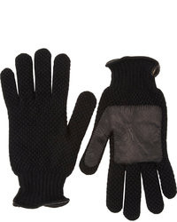 Barneys New York Textured Knit Leather Palm Gloves