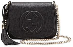33d82321843 ... Gucci Soho Leather Chain Crossbody Bag Black ...