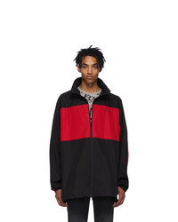 Balenciaga Black And Red Poplin Zip Up Jacket