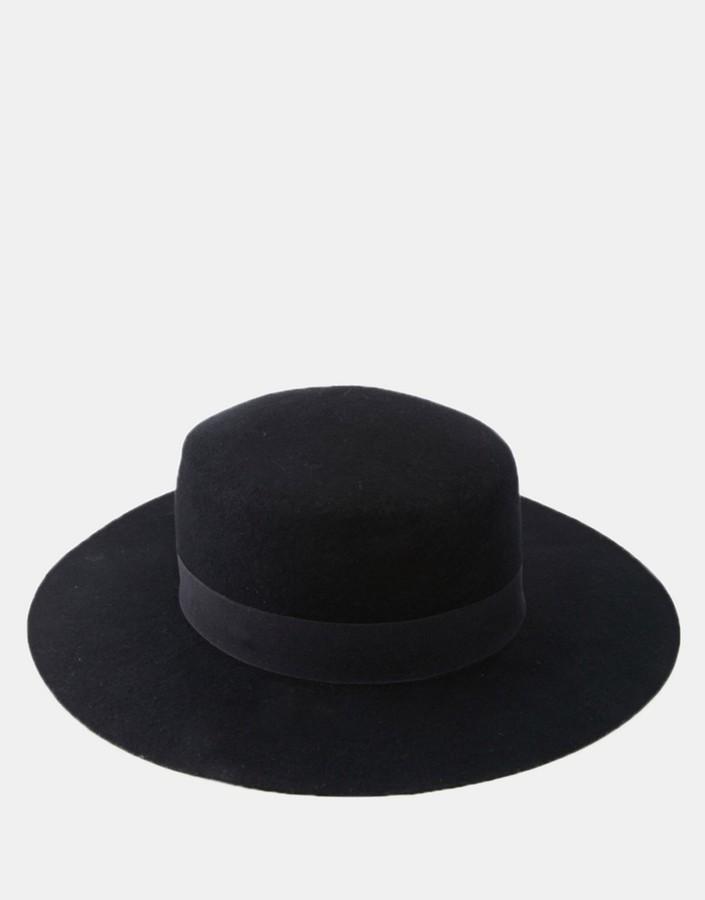 Asos ASOS BRAND ASOS Flat Top Hat In Black Felt With Wide Brim ... cbeee4a484c