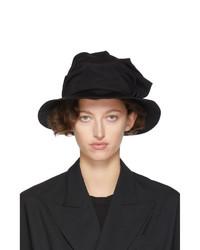Ys Black Frill Cloche Hat