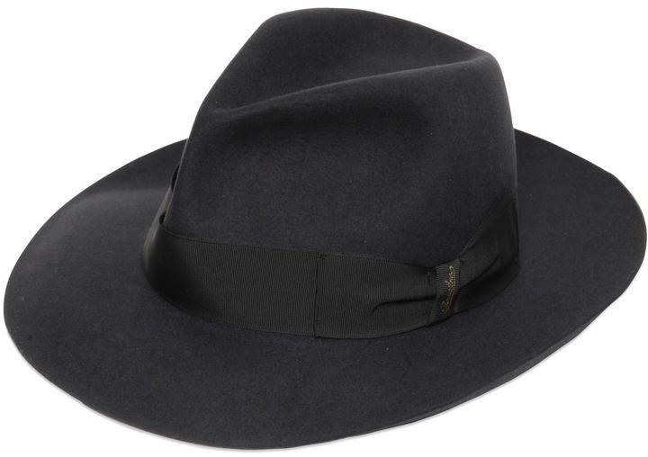 ... Black Hats Borsalino Alessandria Fur Felt Large Brim Hat ... 59bd214ca8b