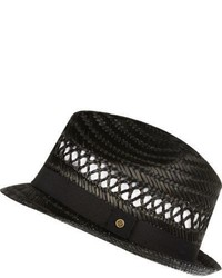 River Island Boys Black Straw Trilby Hat